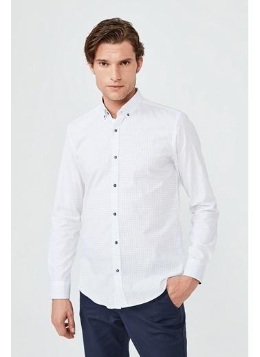 Avva Erkek Baskılı Düğmeli Yaka Slim Fit Garnili Gömlek A02Y2082 Beyaz